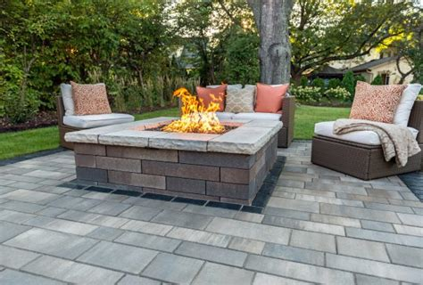 Unilock Fireplace Dimensions - artline patio with a lineo wall firepit photos