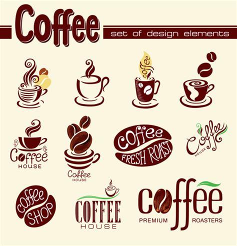 View our portfolio of coffee logos. Coffee logo design elements vector free download