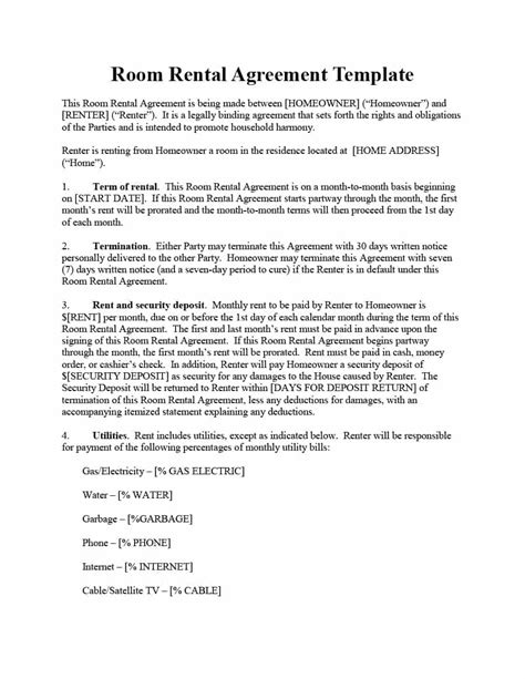 Rent To Buy Agreement Template 39 Simple Room Rental Agreement Templates Template Archive