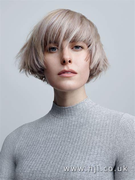 short layered bob hairstyle  grey colour hji
