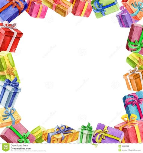 square frame  gifts watercolor stock vector image