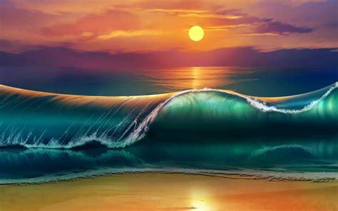 Wallpaper Beach Sunset Waves Sea Ocean 4k Creative