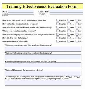 training effectiveness evaluation form learning With end of course evaluation template