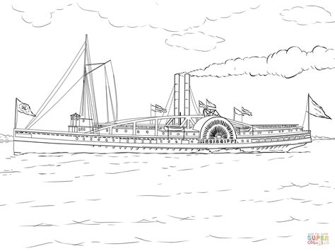Mississippi Steamboat Coloring Page