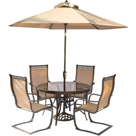 round glass top outdoor table hanover 5 piece aluminum outdoor dining set with round