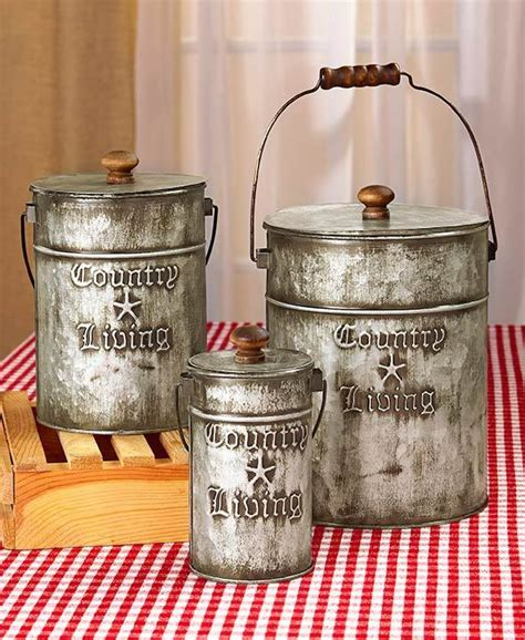 primitive kitchen canisters country living set 3 metal canisters rustic primitive