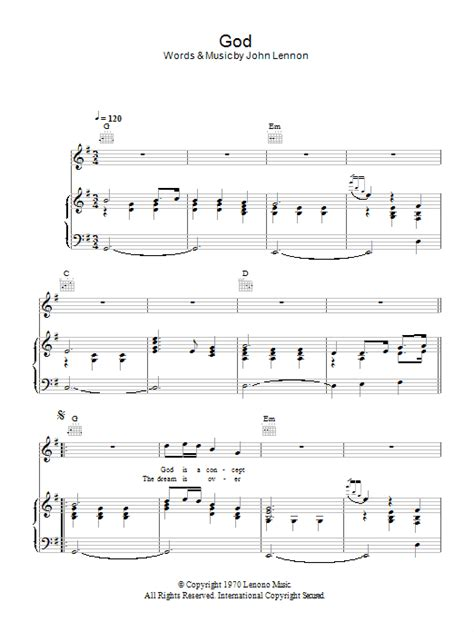 John Lennon Imagine Sheet Music For Clarinet