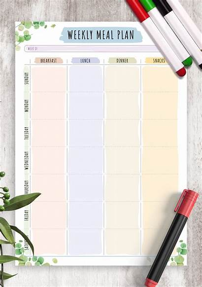 Meal Weekly Plan Floral Printable Template Pdf