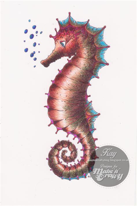 underwater  seahorse digi stamp scene