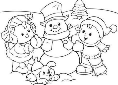 Preschool-coloring-pages-winter-snowman-and-561739