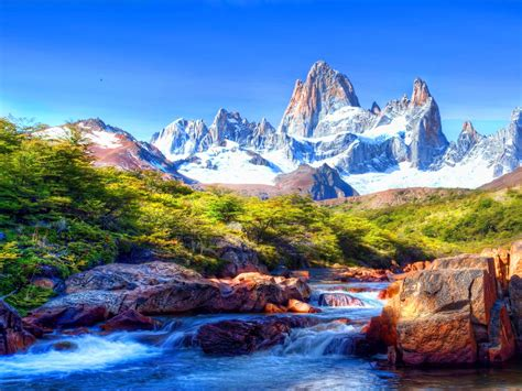 Mountain Scenery With Snow Covered River Rocks Beautiful