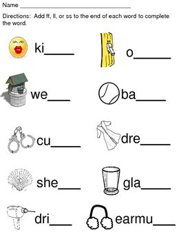 Double Consonant Endings Ff, Ll, Ss By Inspired By Kindergarten Tpt