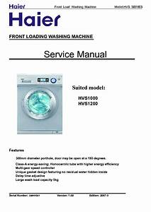 Haier Hvs1000 Hvs1200 Washing Machine Service Manual Download  Schematics  Eeprom  Repair Info