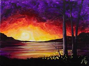 Summer Sunset at the Lake Step by Step Acrylic Painting on ...