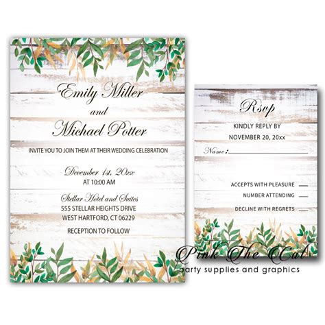 Rustic greenery wedding invitations (set of 100) (With
