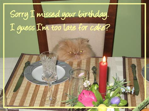 missed  cake  belated birthday wishes ecards greeting cards