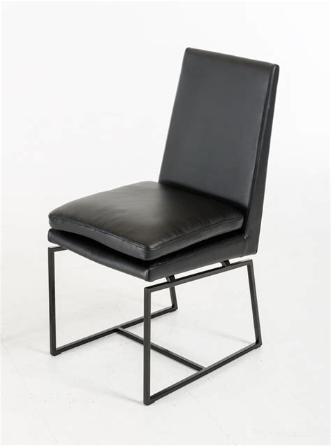 cadre modern black leatherette dining chair set of 2