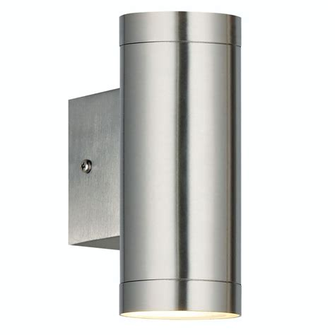nordlux rome gx53 twin outdoor wall light brushed steel