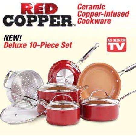 tv red copper  piece pan set walmartcom