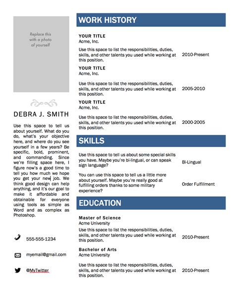 Free Resume Template For Word resume templates microsoft word doliquid