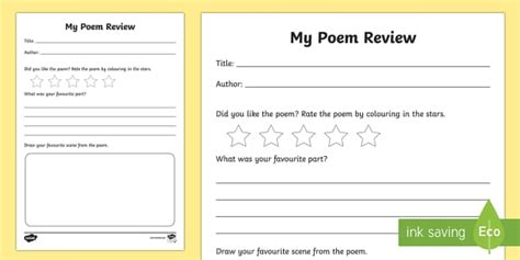 poem review writing frames book review writing frame book