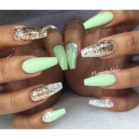 Pastel Green Coffin Nails - Nail Art Gallery