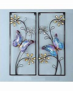 bargains on set of 2 spring crystal flowers butterfly With kitchen cabinets lowes with large metal butterfly wall art