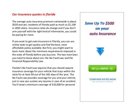 car insurance quotes florida car insurance quotes in florida