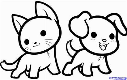 Coloring Kawaii Pages Animals Draw Step