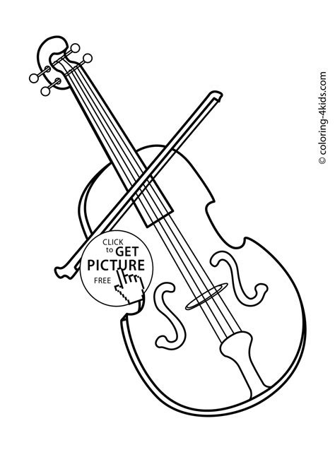 violin musical instruments coloring pages  kids printable