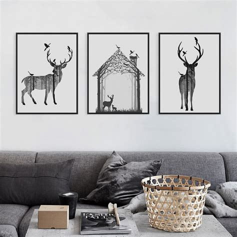 nordic vintage black white deer head animals silhouette a4 big art print poster wall picture