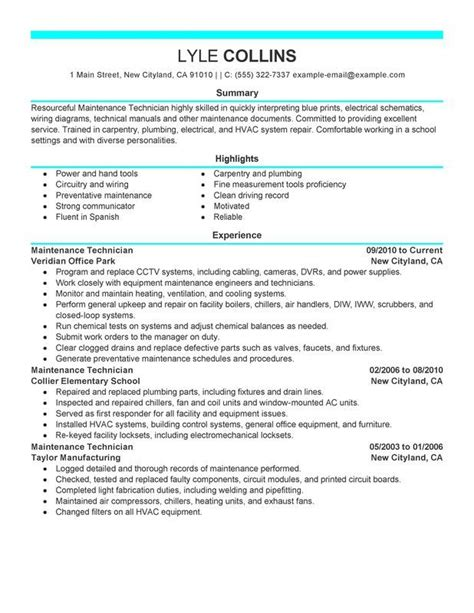 Www Myperfectresume by Maintenance Technician Resume Exle Myperfectresume