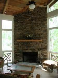 Corner Fireplace with Stone Wall