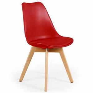 Chaise Scandinave Simili Cuir : chaise scandinave cuir simili rouge ericka lot de 4 pas ~ Teatrodelosmanantiales.com Idées de Décoration