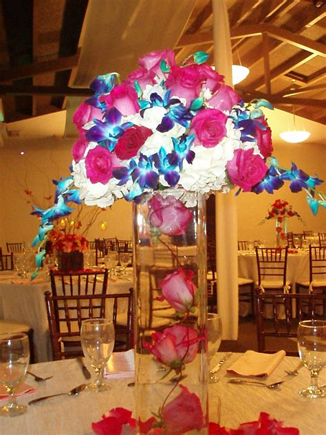 hot pink and blue centerpiece spring and summer weddings