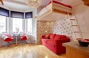 Kleine Zimmer Gemütlich Einrichten : kleine wohnung einrichten mit hochhbett 1 zimmer wohnung einrichten mit sofa unter loftbed ~ Bigdaddyawards.com Haus und Dekorationen