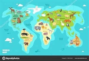 Weltkarte Kontinente Kinder : cartoon weltkarte mit tieren ozeane und kontinente lustige geographie f r kinder bildung ~ A.2002-acura-tl-radio.info Haus und Dekorationen