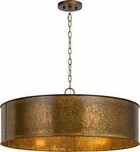 Cal fx rochefort distress gold drum pendant light