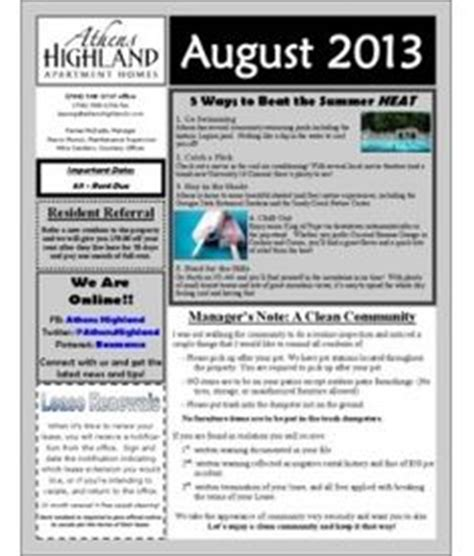 apartment complex sample newsletter newsletter template