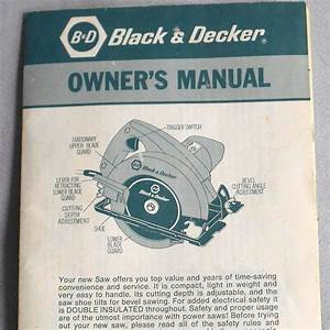 Vtg Instructions Guide Black  U0026 Decker Circular Saw 7300