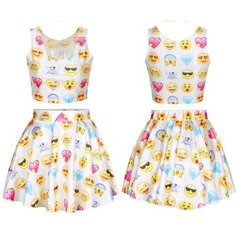 Chic Emoji shirt crop fashion emoji skirt set ladies blouse girls... ($35) liked on Polyvore ...