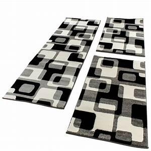 Läufer Schwarz Weiß : bettumrandung l ufer teppich retro design grau schwarz weiss l uferset 3 tlg teppiche ~ Orissabook.com Haus und Dekorationen