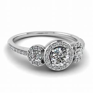3 stone diamond petite halo vintage wedding ring in 14k With vintage halo wedding rings