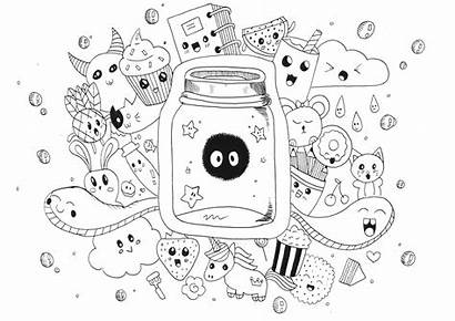 Kawaii Doodle Coloring Animals Funny Drawing Monsters
