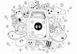 Doodle Coloring Kawaii Doodling Pages Adults Rachel Adult sketch template