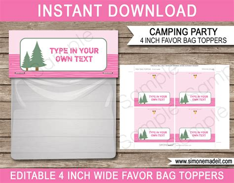 pink camping party printables invitations decorations