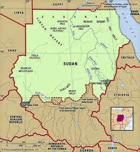 Sudan Physical Features Map