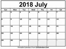 Printable July 2018 Calendar Templates 123CalendarsCom