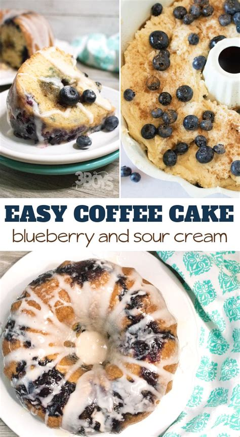 This kosher recipe for blueberry sour cream coffee cake features a sour cream batter, a ribbon of blueberries, and a cinnamon crumb topping. Blueberry Sour Cream Coffee Cake   Recipe   Sour cream coffee cake, Cake recipes, Dessert recipes