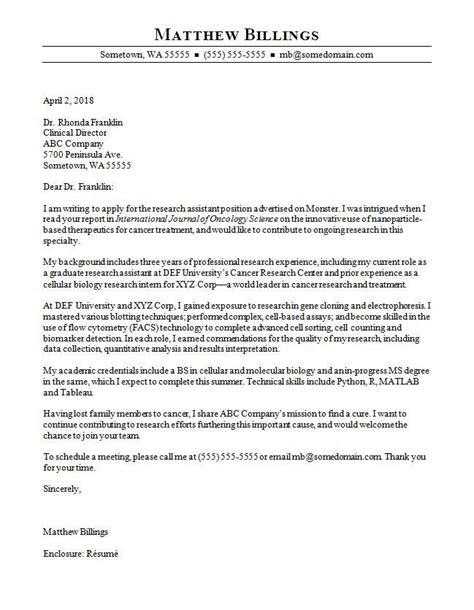 assistant scientist cover letter samples templates